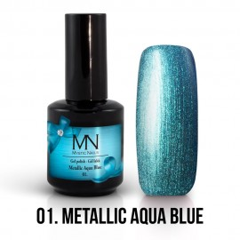 Gel Polish Metallic no.01. - Metallic Aqua Blue 12 ml